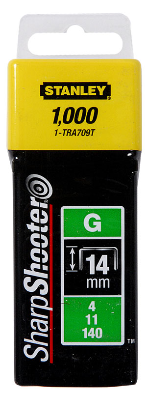 Stanley 1-TRA708T Скобы тип G 12мм (Степлер Stanley 6-TR250, 6-TR151Y) 1000шт