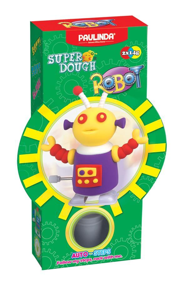 PAULINDA Маса для ліплення Super Dough Robot заводний механізм (крокує) (фіолетовий)