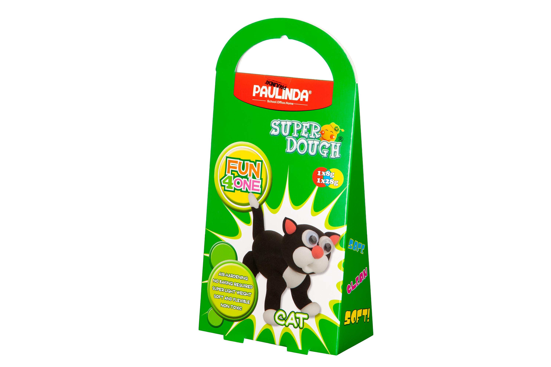 PAULINDA Масса для лепки Super Dough Fun4one Кот (подвижные глаза)