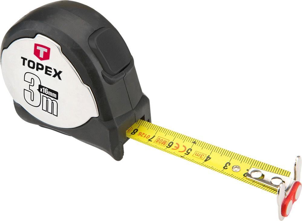 Topex 27C373 Рулетка, сталева стрiчка 3 м x 16 мм, магнiт