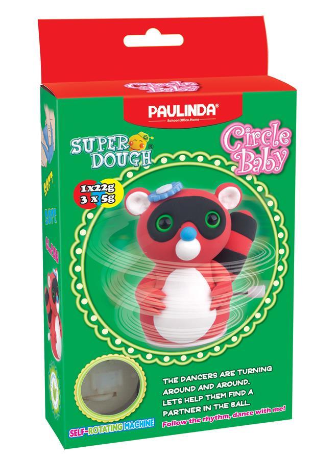 PAULINDA Маса для ліплення Super Dough Circle Baby Єнот заводний механізм (червоний )