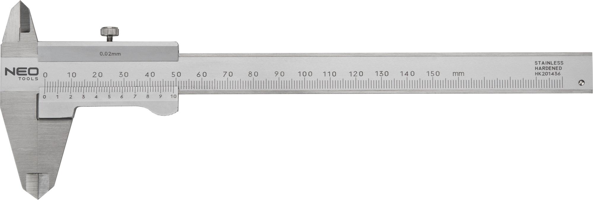 Neo Tools 75-001 Штангенциркуль з сертифiкатом DIN, 150 мм, нержавiюча сталь