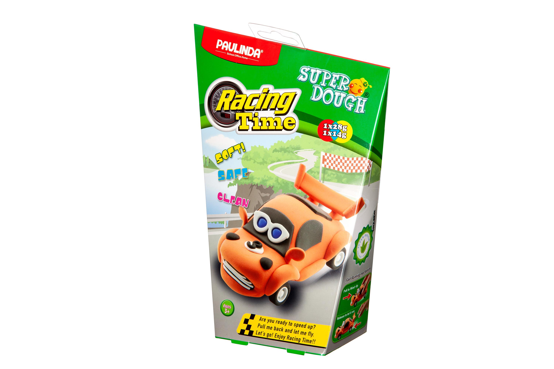 PAULINDA Маса для ліплення Super Dough Racing time Машинка (помаранчева) інерційний механізм