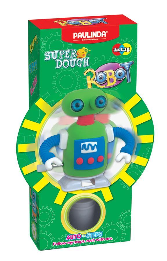 PAULINDA Масса для лепки Super Dough Robot заводной механизм (шагает) (зеленый)