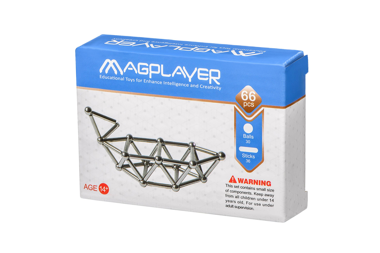 MagPlayer Конструктор Магнитный набор палочек и шариков (66 эл.)