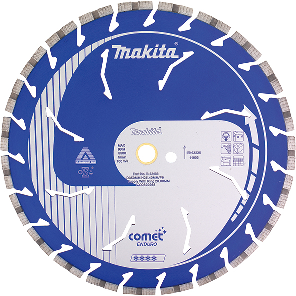Makita Алмазний диск Comet Rapide по бетону сегмент 400х25,4 (20) мм сухий/мокрий (B-13568)