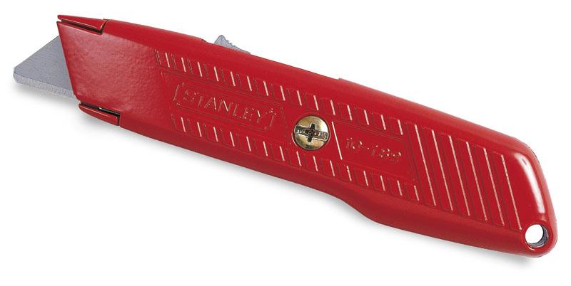 Stanley 1-10-189 Нож 19мм трапеция 155мм выдвижное, лезвие с возвратной пружиной