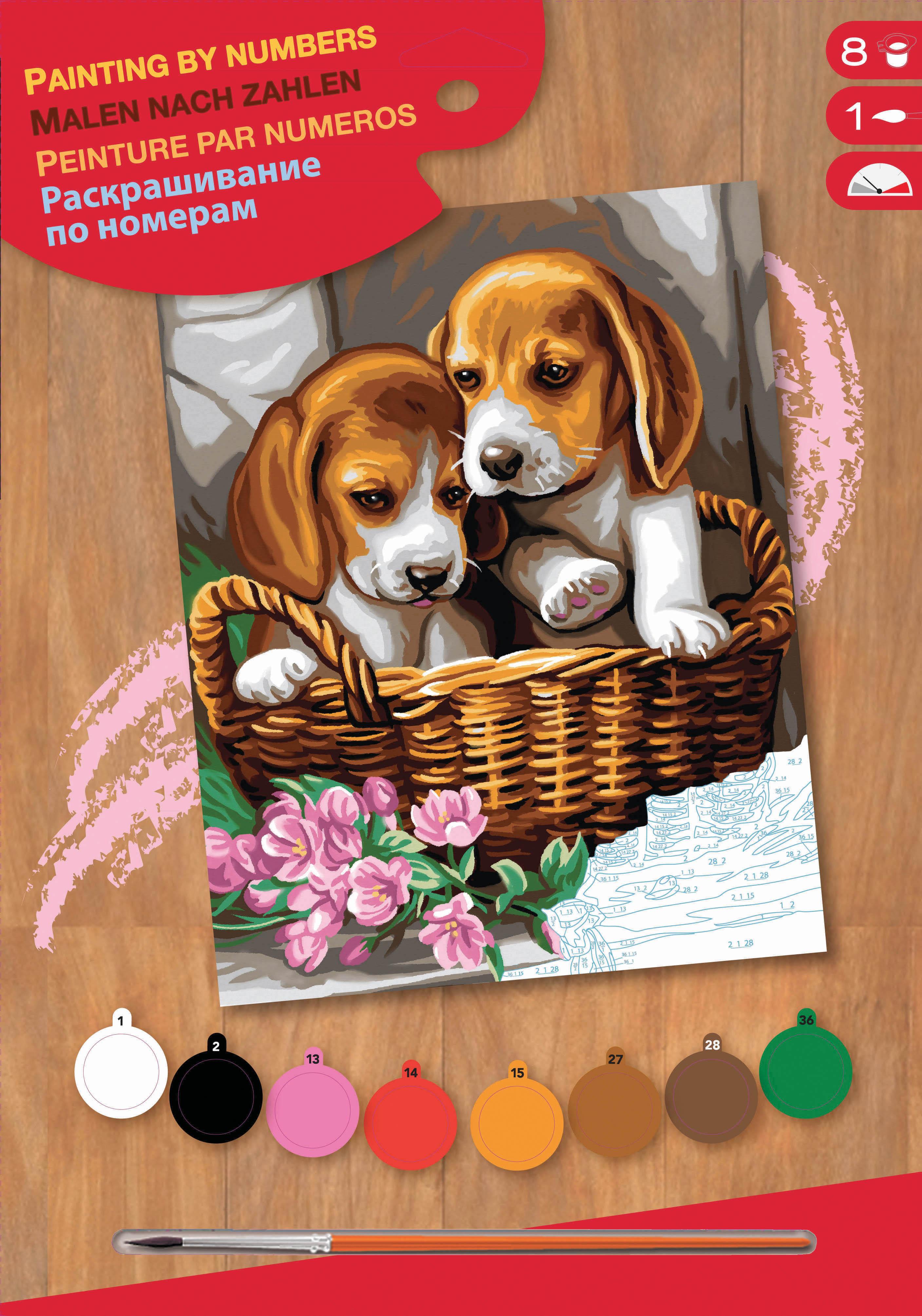 Sequin Art Набір для творчості PAINTING BY NUMBERS JUNIOR Basket of Puppies
