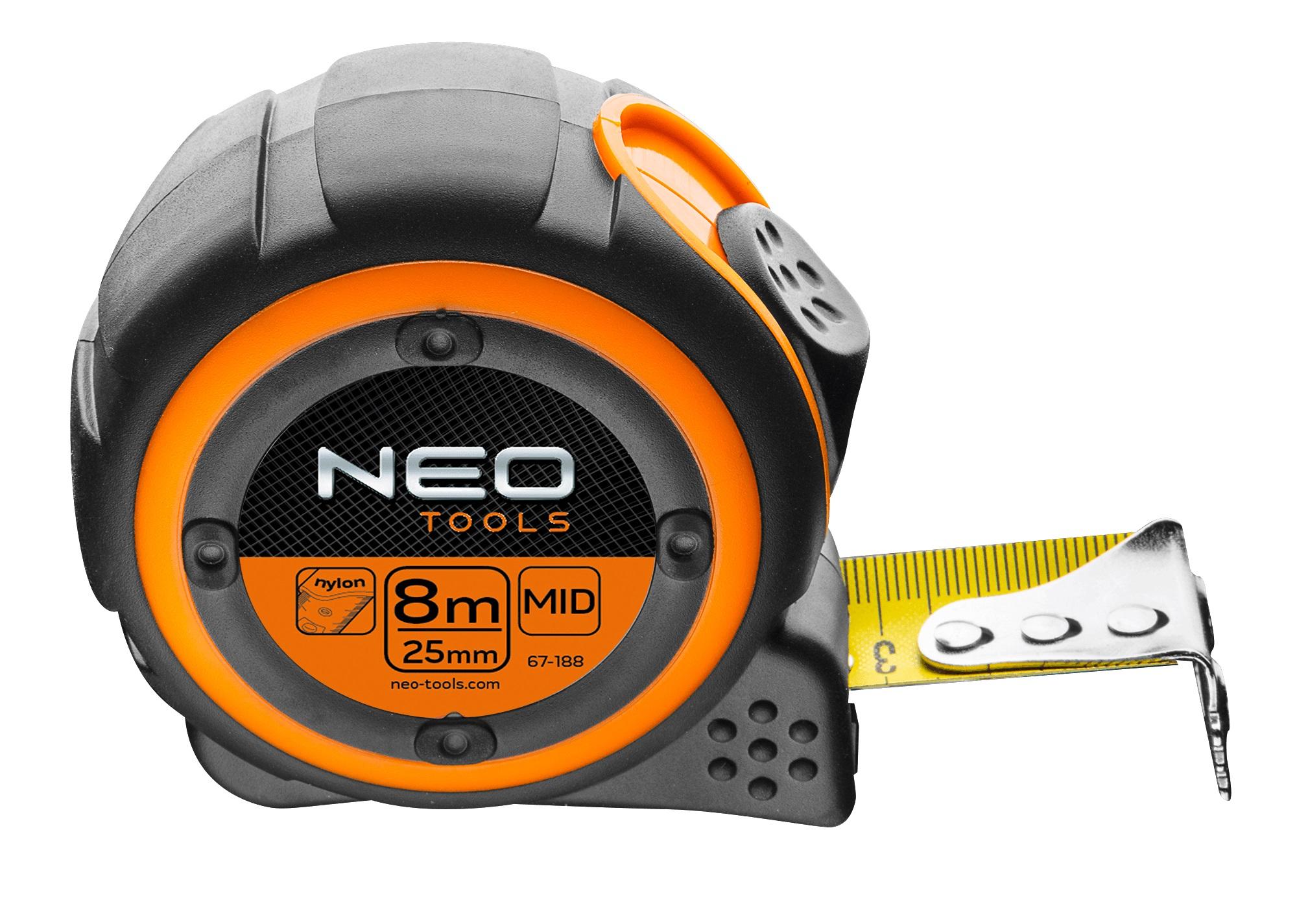 Neo Tools 67-188 Рулетка, сталева стрiчка 8 м x 25 мм, магнiт