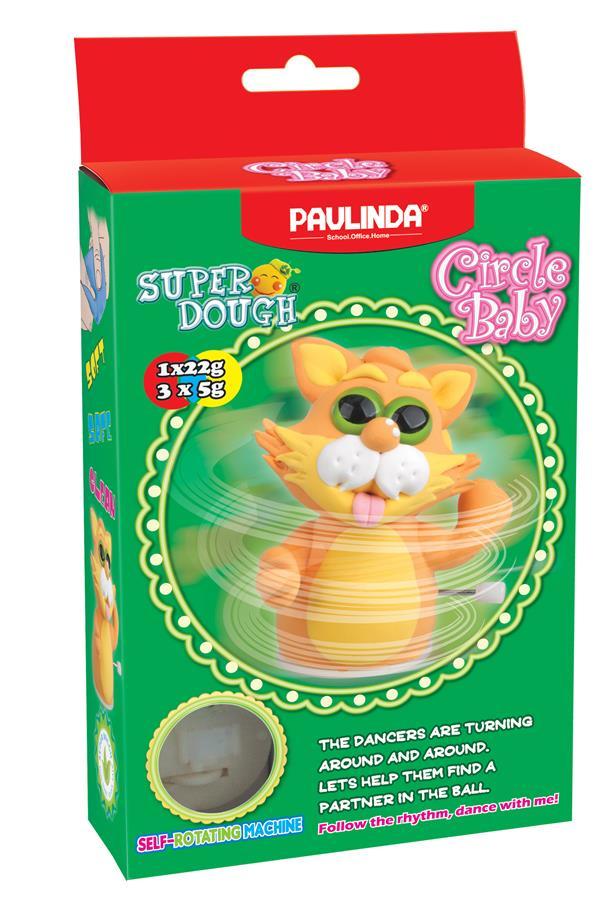 PAULINDA Маса для ліплення Super Dough Circle Baby Кіт заводний механізм (помаранчевий)