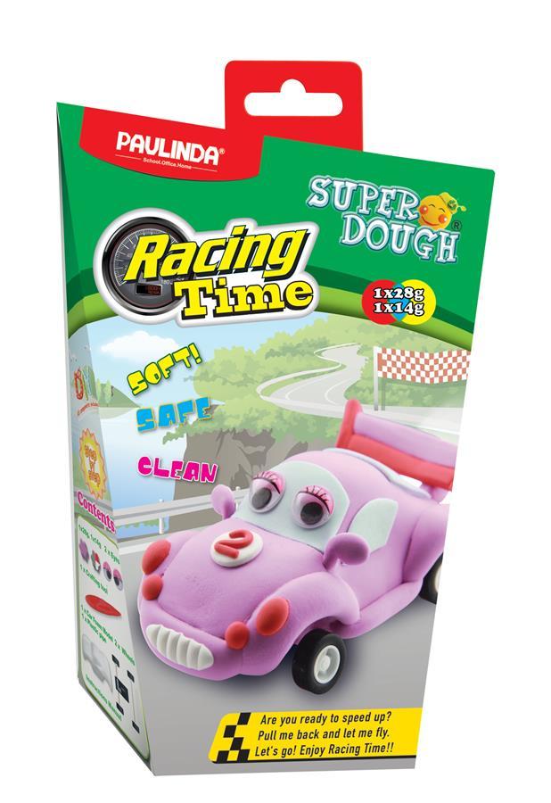PAULINDA Маса для ліплення Super Dough Racing time Машинка (рожева) інерційний механізм