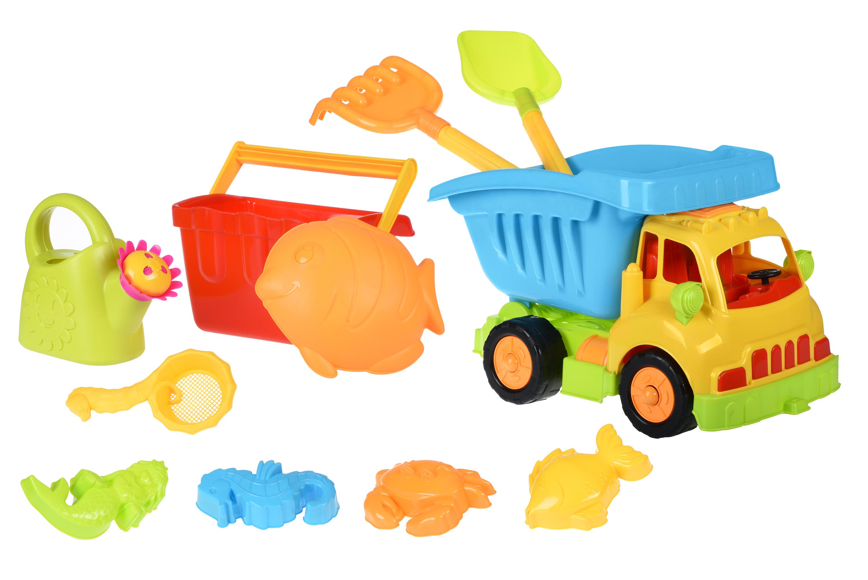 Same Toy Набор для игры с песком Грузовик желтая кабина/синий кузов (11 ед.)
