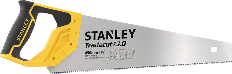 Stanley Ножовка по дереву 450мм 11TPI закаленный зуб TRADECUT нержавеющая сталь