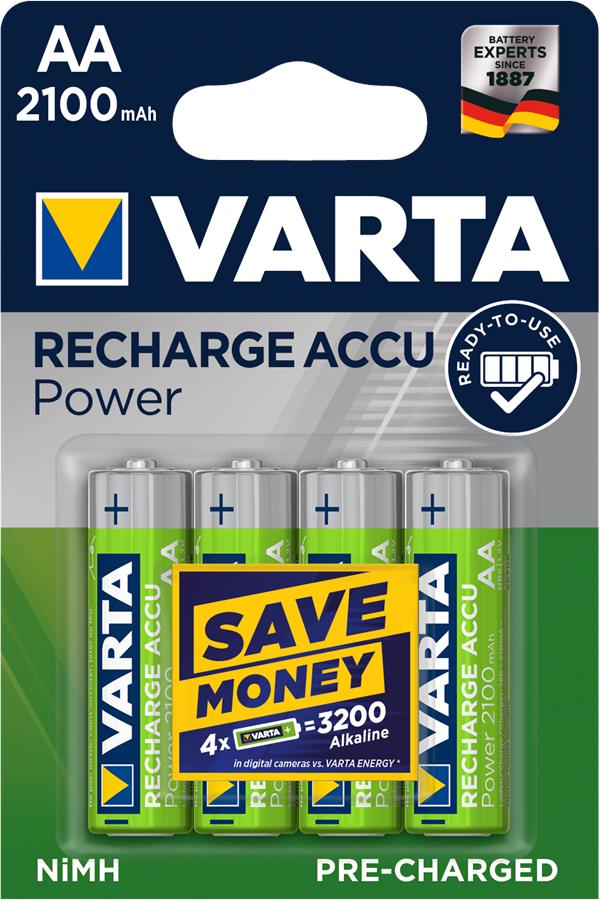 VARTA RECHARGEABLE ACCU AA 2100mAh BLI 4 NI-MH (READY 2 USE)