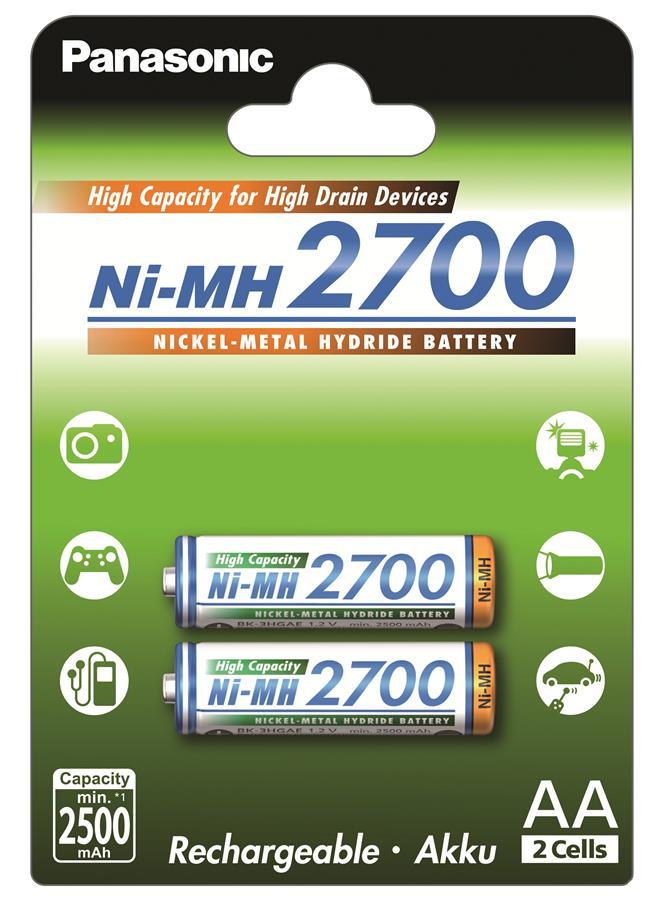 Panasonic High Capacity AA 2700 mAh 2BP Ni-MH